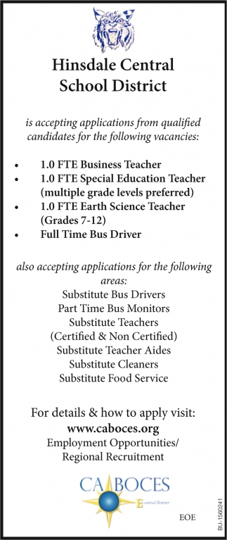 Accepting Applications from Qualified Candidates for the following Vacancies