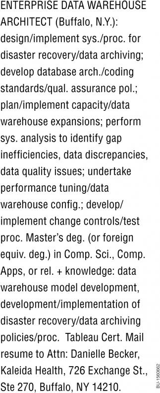 Enterprise Data Warehouse Architect