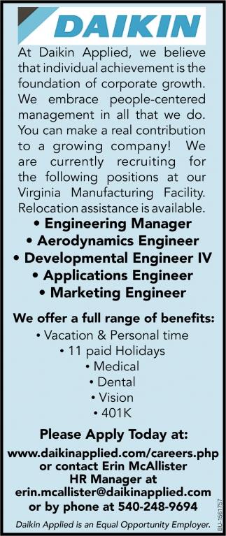 Engineering Manager, Aerodynamics Engineer, Developmental Engineer IV, Applications Engineer, Marketing Engineer