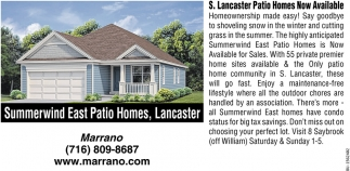 S. Lancaster Patio Homes Now Available