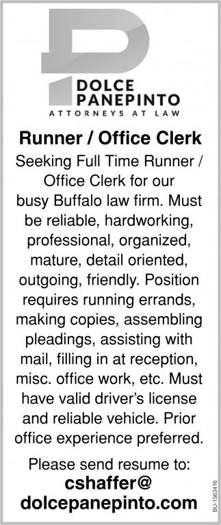 Runner/Officer Clerk