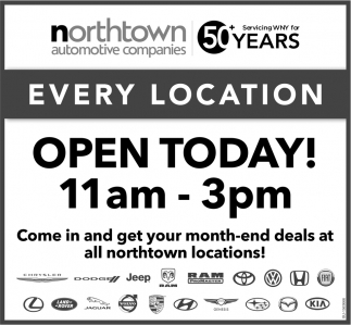 Every Location Open Today!