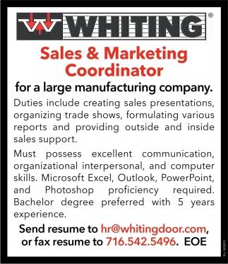 Sales & Marketing Coordinator, Whiting Door Mfg. Corp