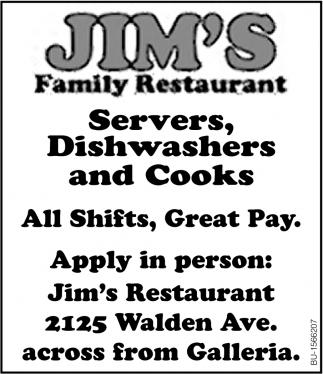 Servers, Dishwashers & Cooks