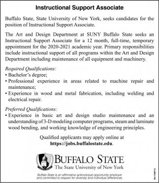Instructional Support Associate Buffalo State The State University Of New York Buffalo Ny